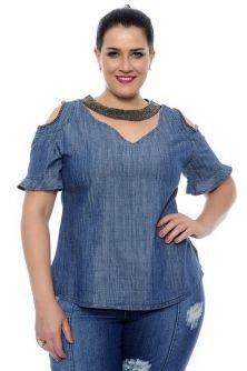 Blusa Plus Size Jeans Decote Choker