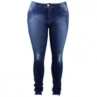 Calça Jeans Feminina Cigarrete Rasgada Com Lycra Plus Size