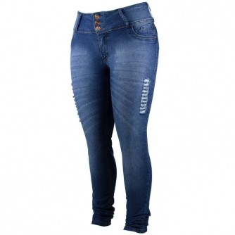 Calça Jeans Feminina Skinny Rasgada Com Lycra Plus Size