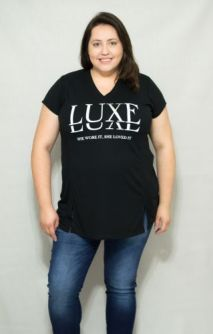 Camiseta Plus Size Longa Luxe