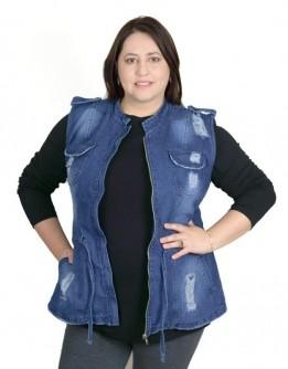 Colete Jeans Parka Plus Size Destroyed
