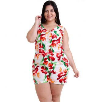 58110f5b0 Macaquinho Plus Size Floral