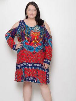 Vestido com Recortes Plus Size Gipsy