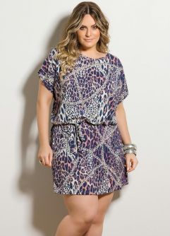 Vestido Curto Animal Print Plus Size