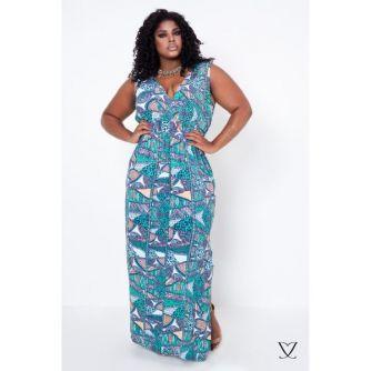 Vestido com Estampa Etnica Plus Size