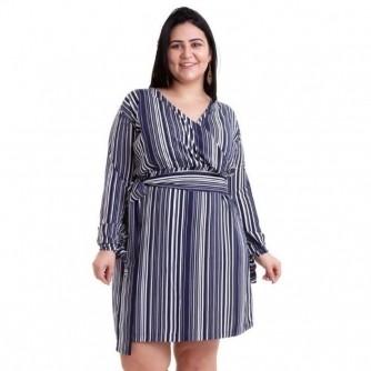 Vestido Transpassado Plus Size Listrado Azul