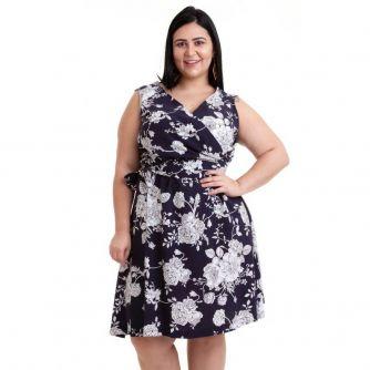 1ed82e52d Vestido Plus Size sem Mangas Floral Azul