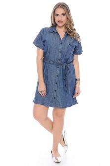 Vestidos Jeans Plus Size com Detalhes