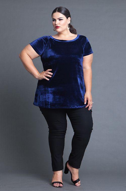 Blusa de Veludo Plus Size