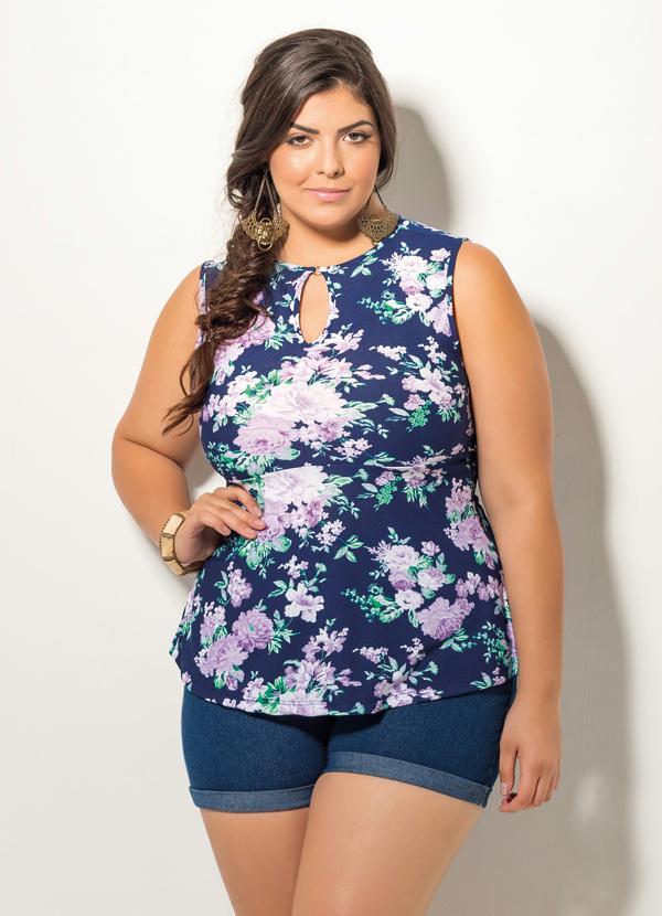 Blusa Floral Plus Size Peplum