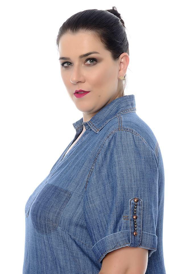 Blusa Plus Size Jeans Feminina