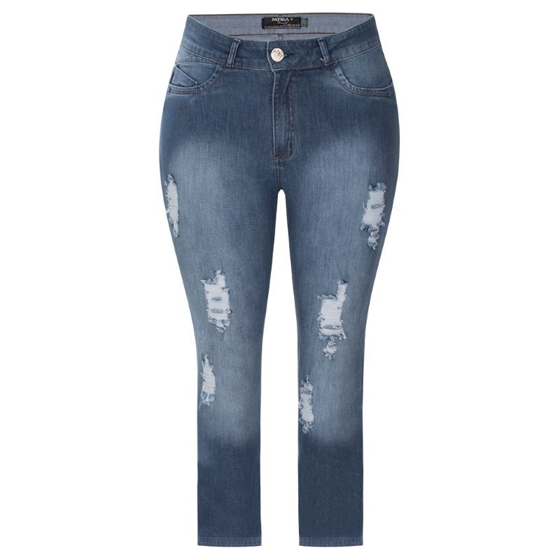 Calça Feminina Jeans Cigarrete Rasgada Com Lycra Plus Size
