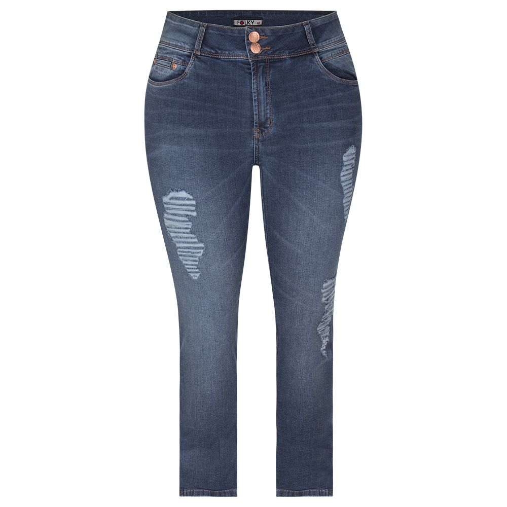 Calça Folky Jeans Plus Size Puidos