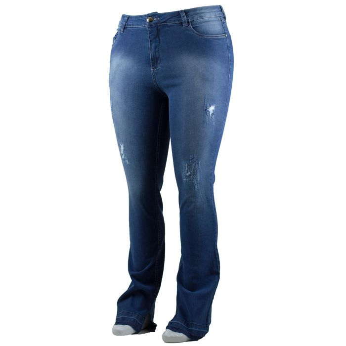 Calça Jeans Feminina Flare Rasgada Com Lycra Plus Size