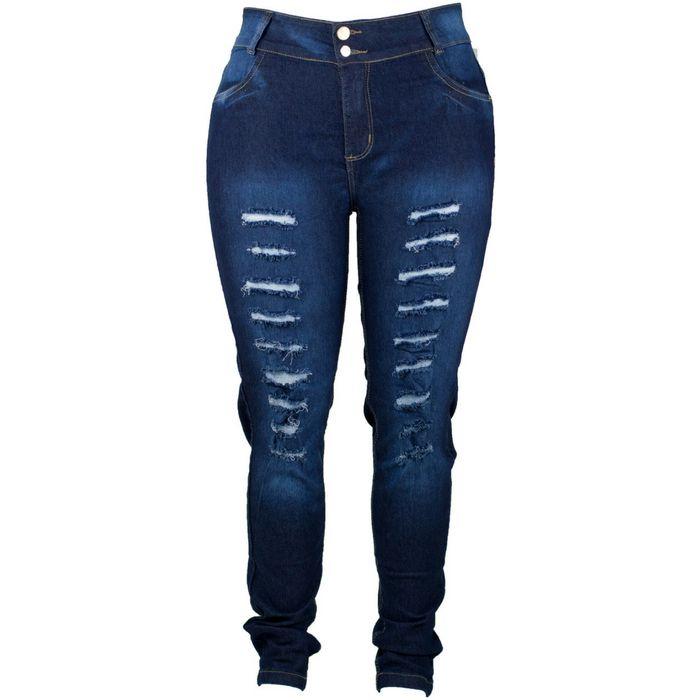 Calça Jeans Feminina Rasgada Com Lycra Plus Size