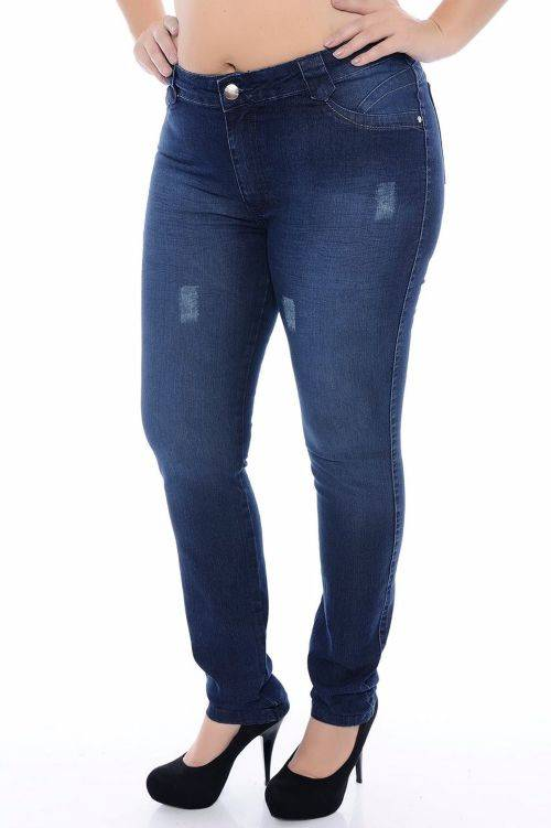 Calça Jeans Plus Size Skinny com Puidos