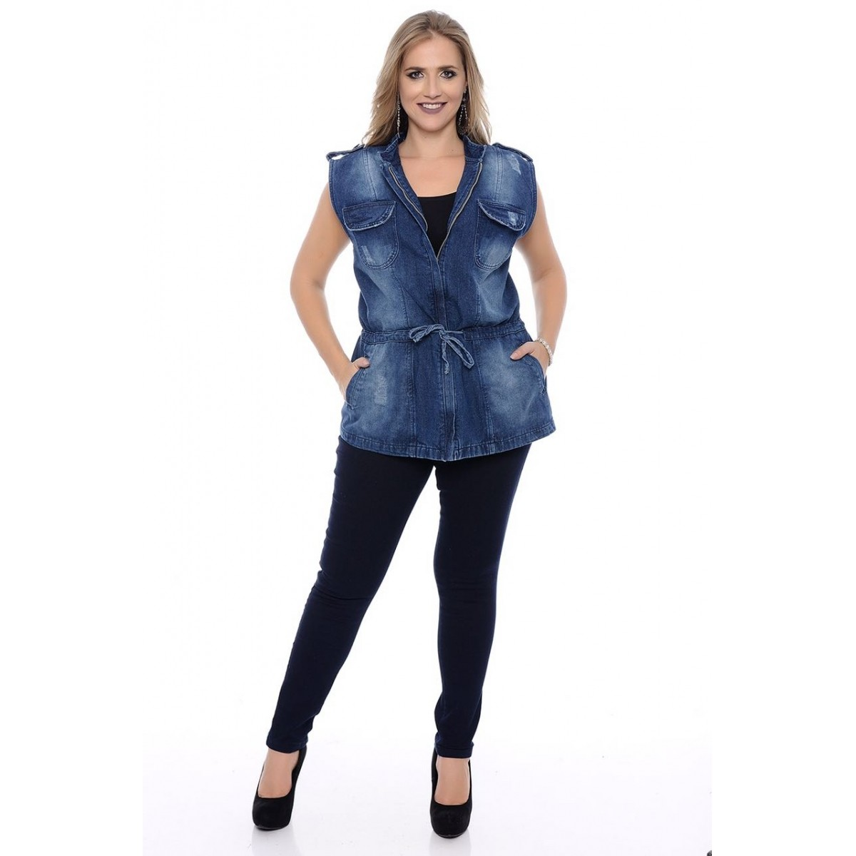 Colete Jeans Parka Plus Size com Puidos