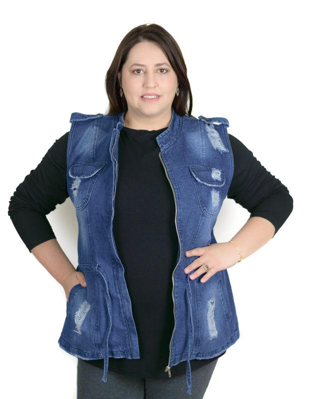 Colete Jeans Parka Plus Size Destroyed