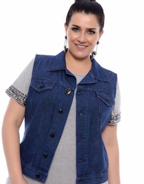 Colete Jeans Plus Size Feminino