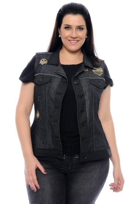 Colete Jeans Plus Size Feminino com Detalhes