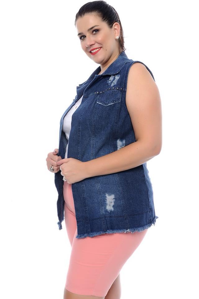 Colete Jeans Plus Size Longo