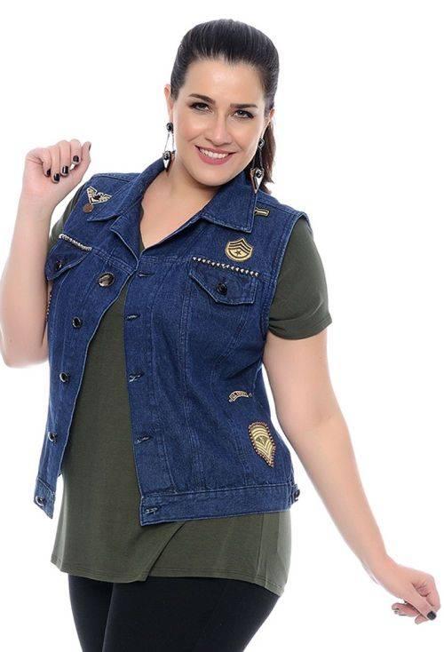 Colete Jeans Plus Size Militar