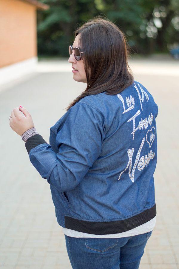 Jaqueta Bomber Casaco Jeans Plus Size