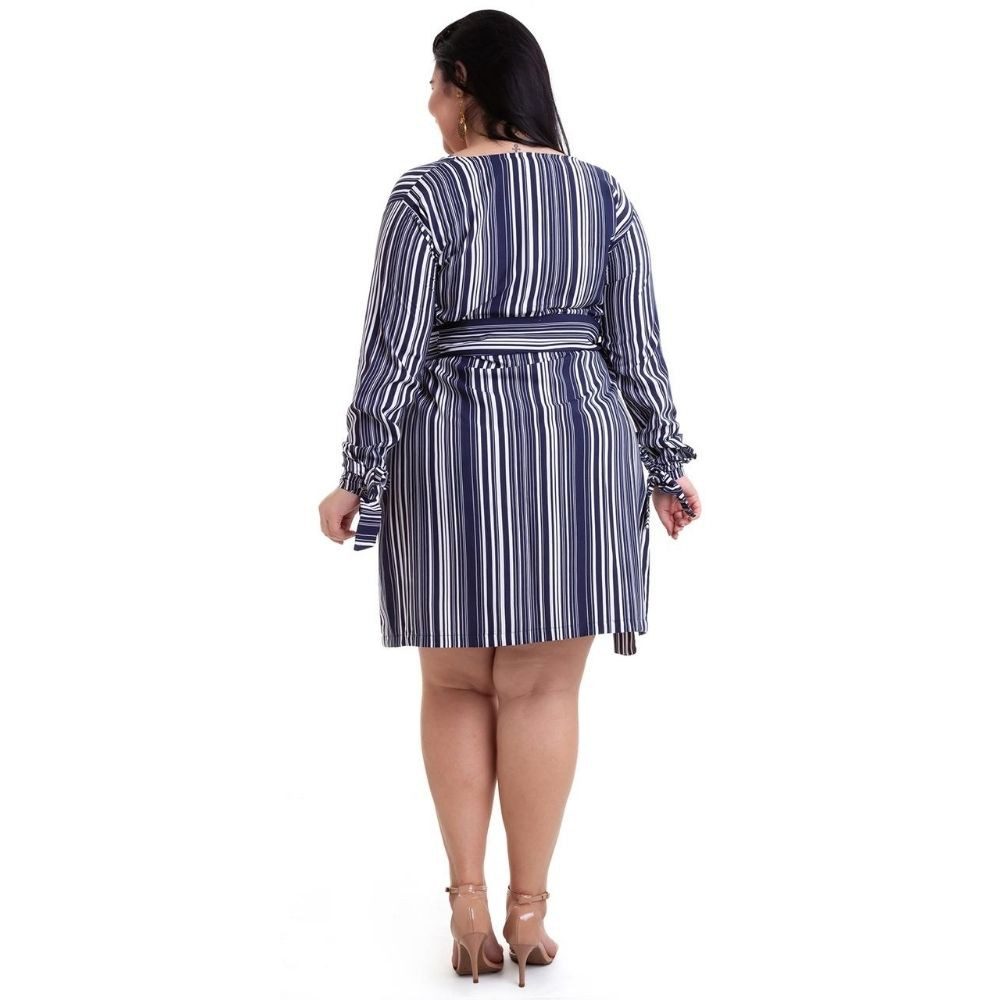 Kit 2pçs Vestido Plus Size Pradiva  Azul / Azul e Marrom Listrado - tamanho 46