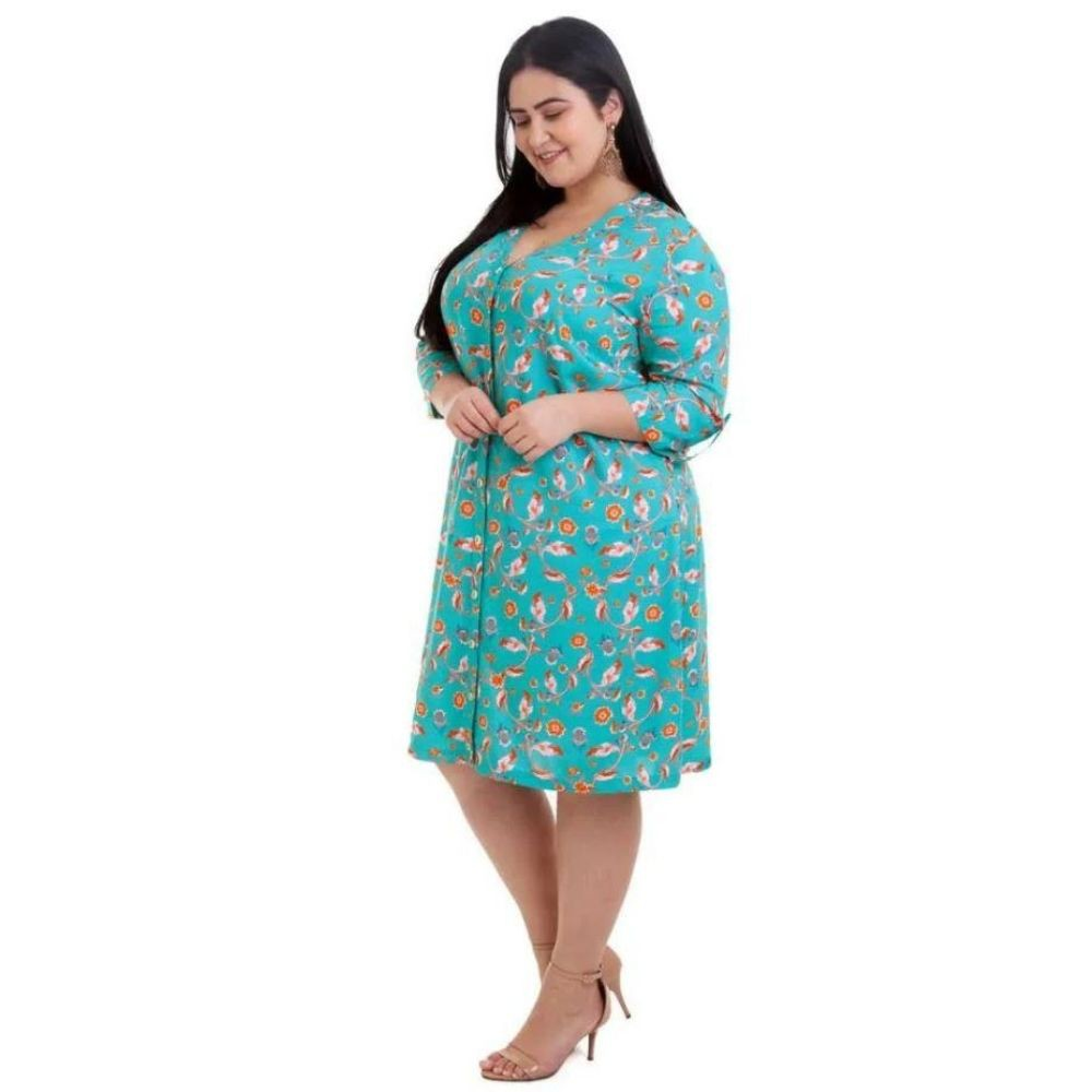 Kit 2pçs Vestido Plus Size Pradiva Azul e Marrom / Verde - tamanho 46