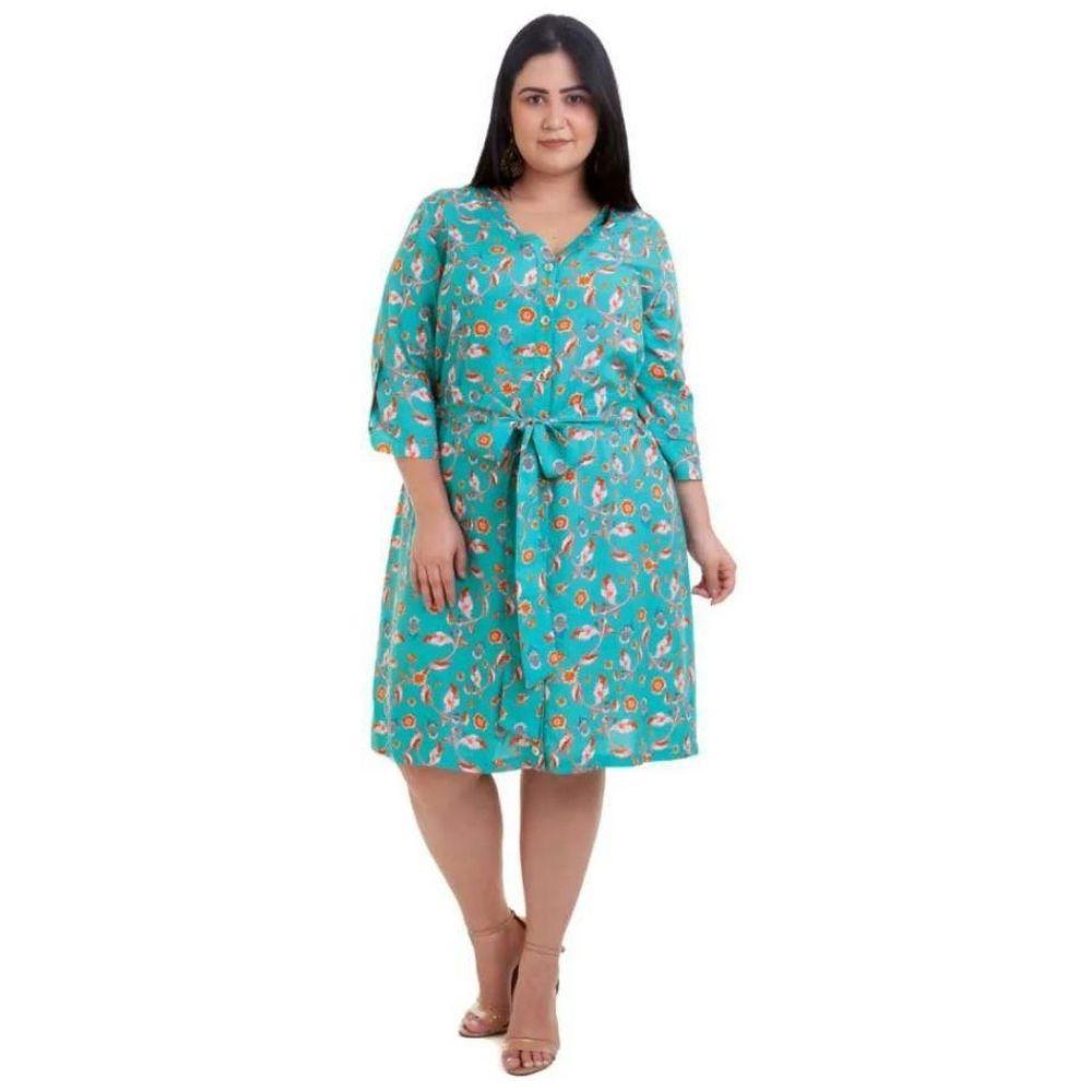 Kit 2pçs Vestido Plus Size Pradiva  Azul Estampado / Verde - tamanho 48
