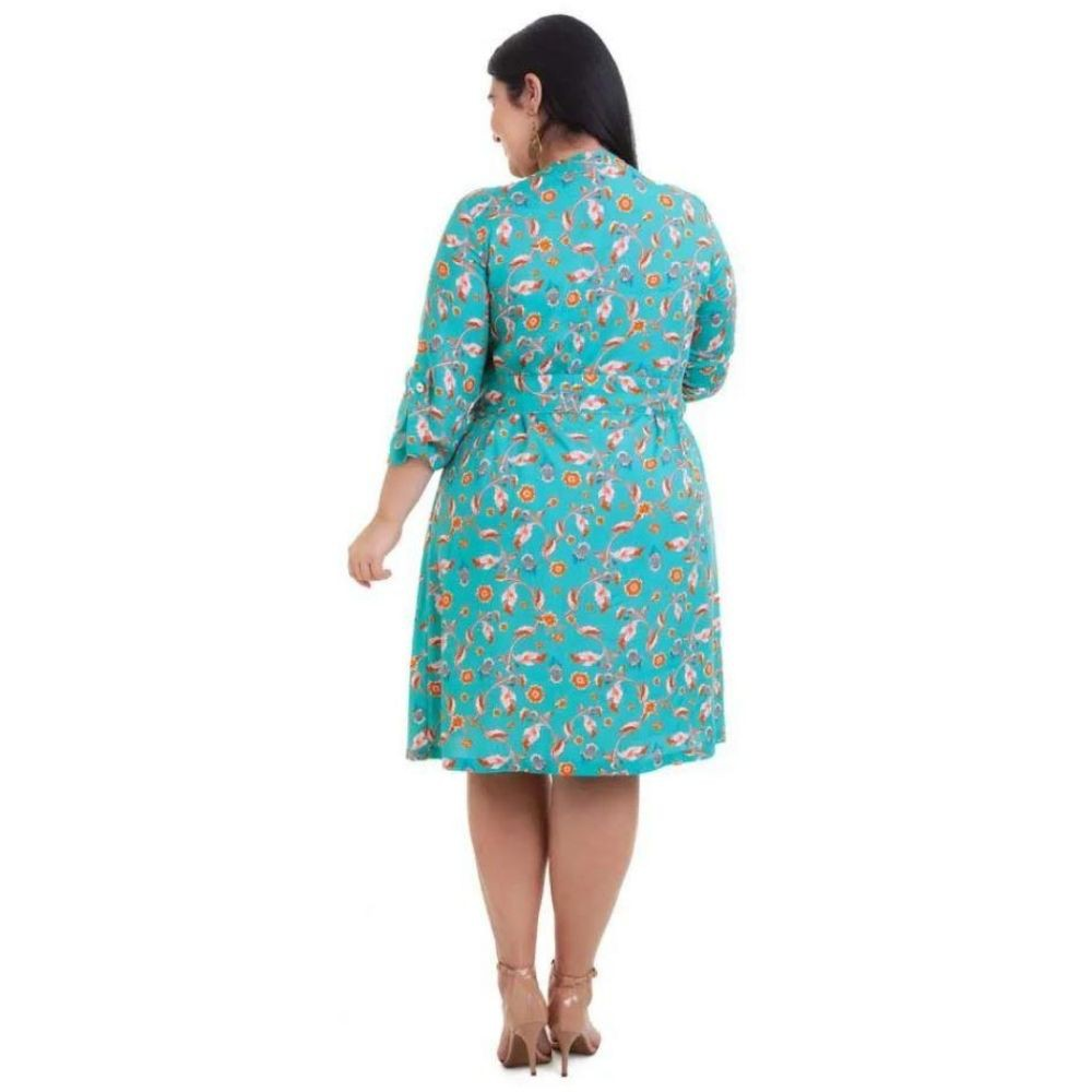 Kit 2pçs Vestido Plus Size Pradiva Azul / Verde Evase - tamanho 46