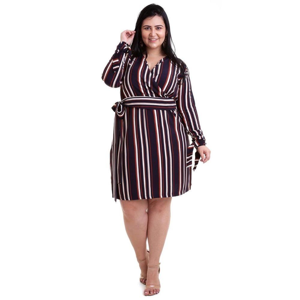 Kit 2pçs Vestido Plus Size Pradiva  Rosa / Azul e Marrom Listrado - tamanho 46
