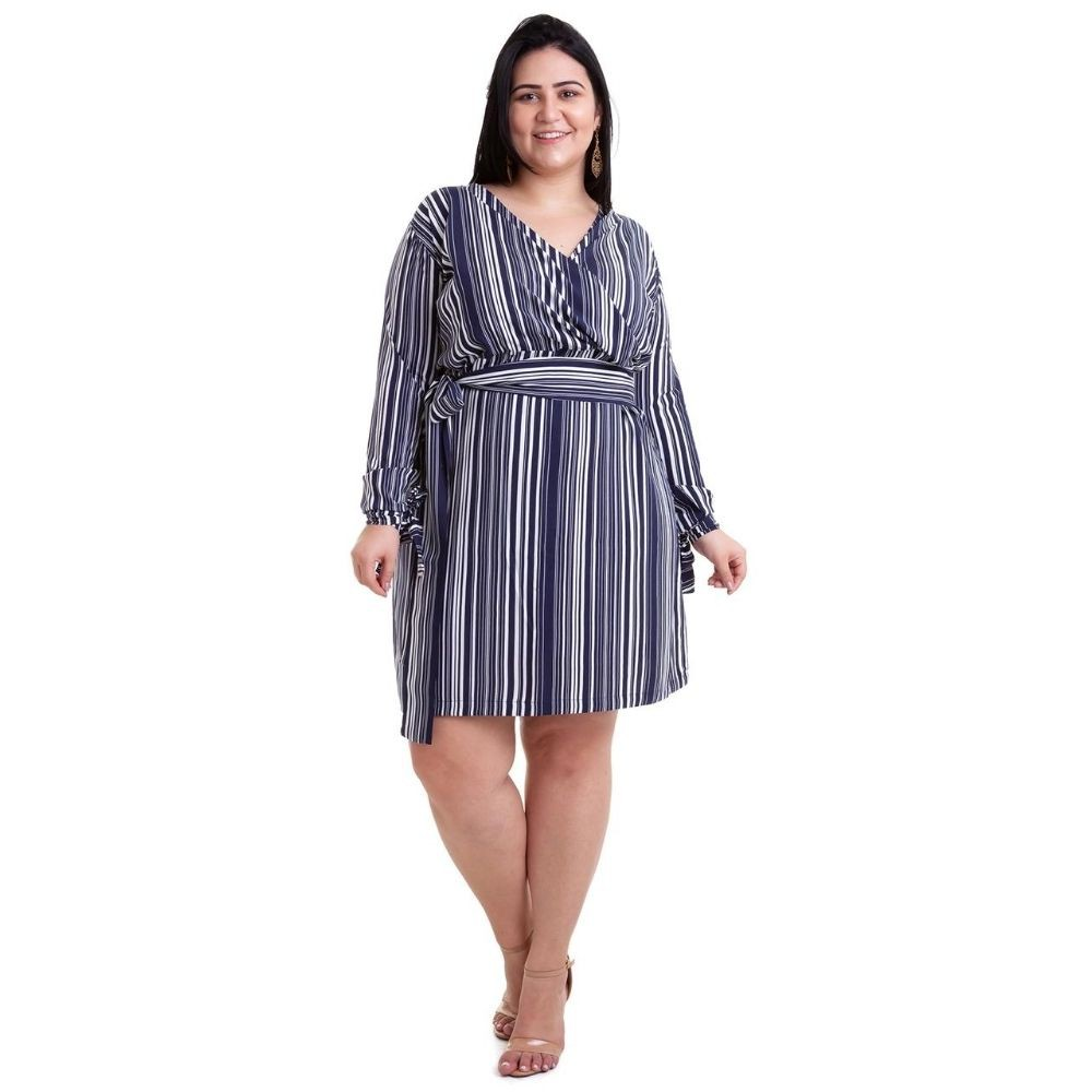 Kit 2pçs Vestido Plus Size Pradiva  Rosa / Azul Listrado - tamanho 46