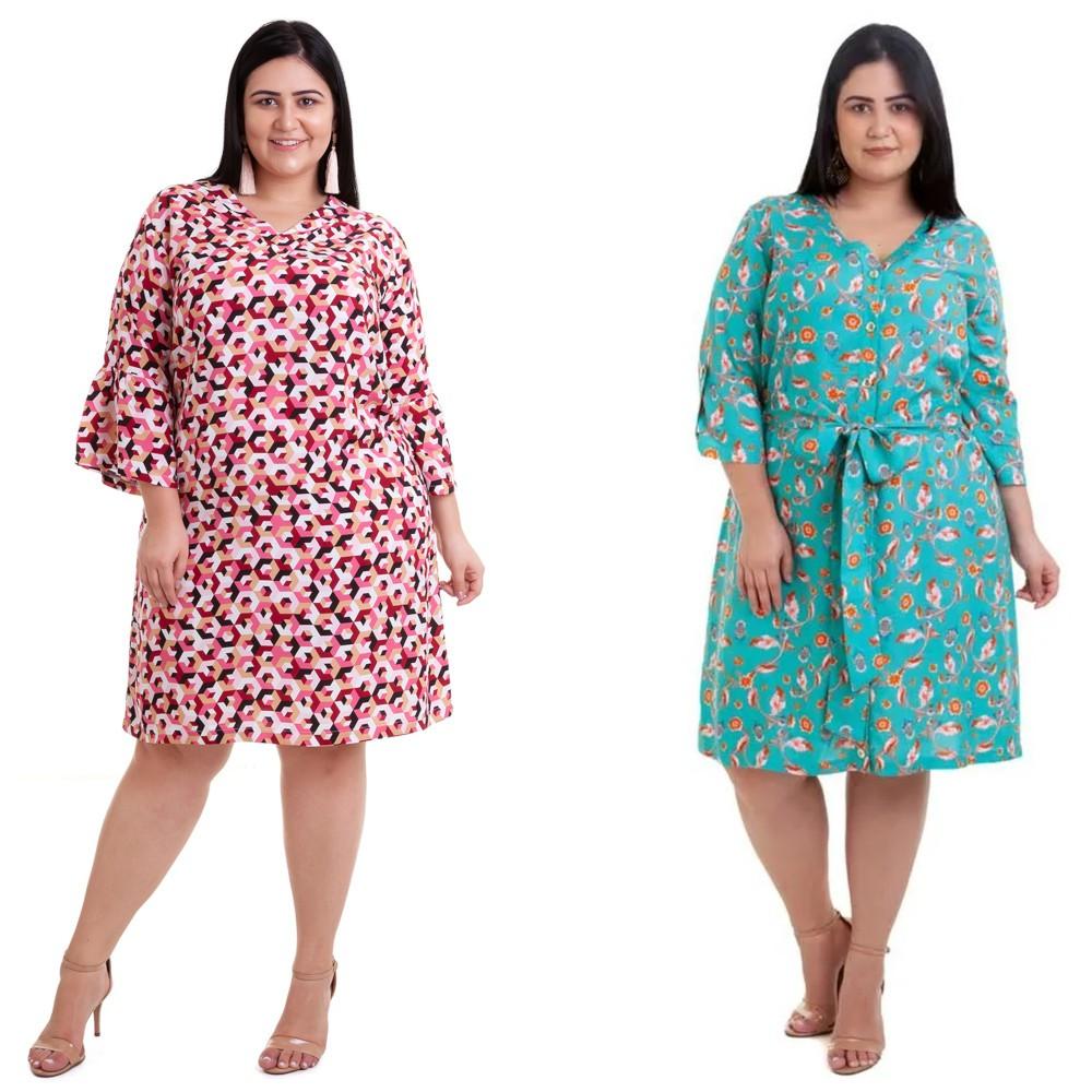 Kit 2pçs Vestido Plus Size Pradiva  Rosa / Verde Evase - tamanho 46