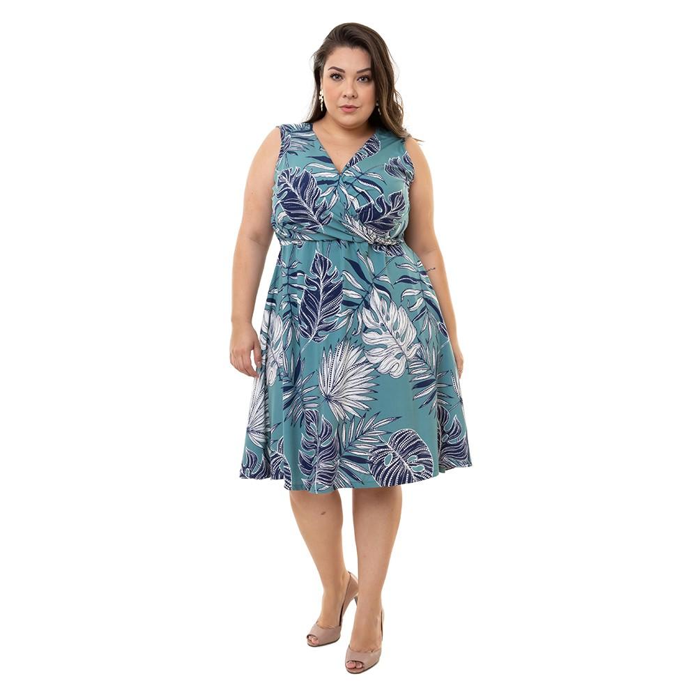 Kit Vestidos Plus Size Sem Manga Pradiva Verde e Azul Floral