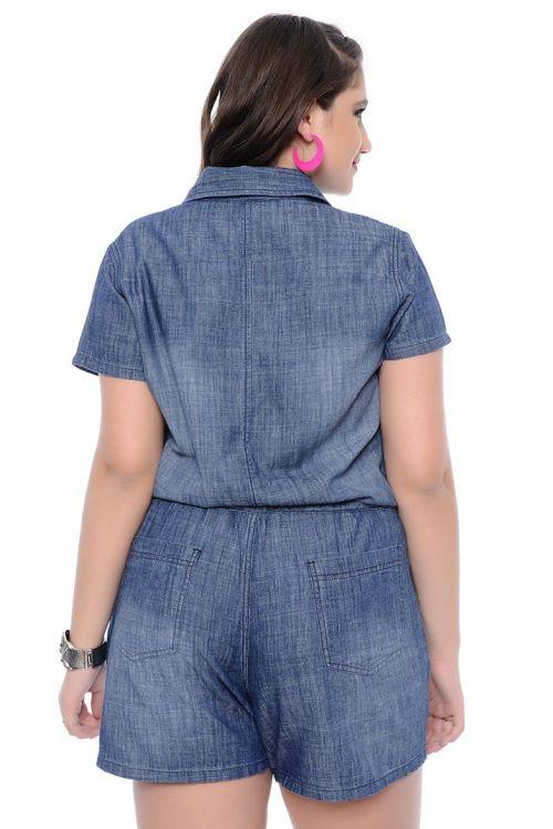 Macaquinho Jeans Plus Size