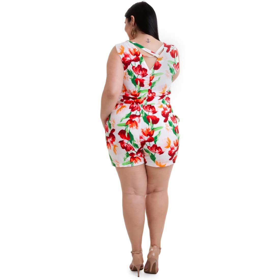 Macaquinho Plus Size Floral