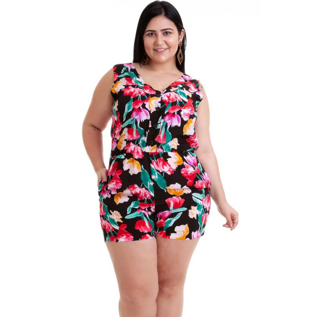 Macaquinho Plus Size Floral Preto