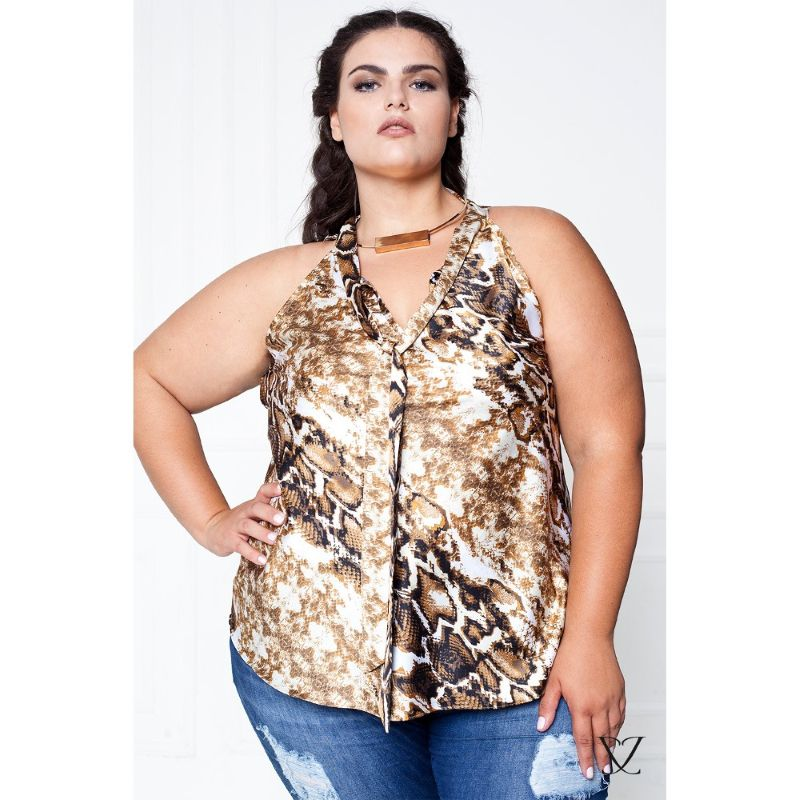 Regata Plus Size com Estampa Animal Print
