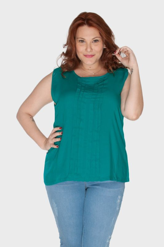 Regata Plus Size com Pregas Frontais