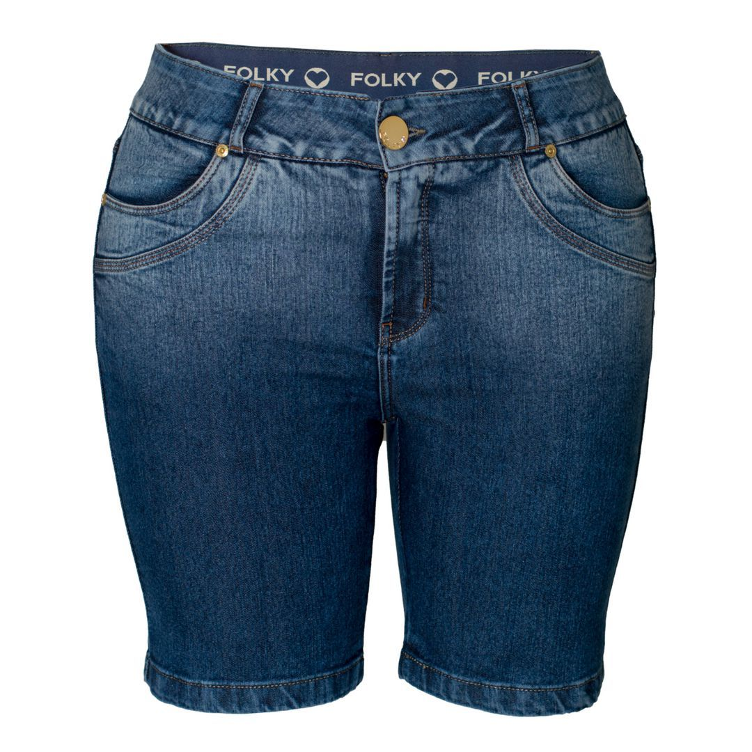 Short Jeans Folky Plus Size Feminino