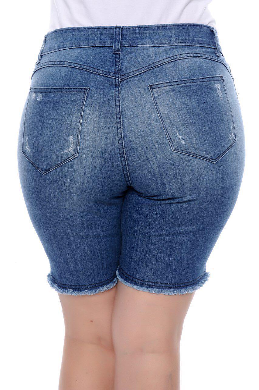 Shorts Jeans Plus Size com Puidos