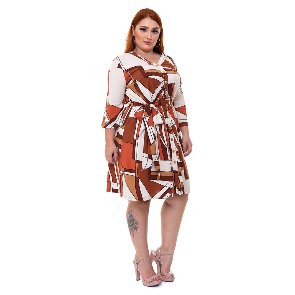 Vestido Chemise Plus Size Estampado