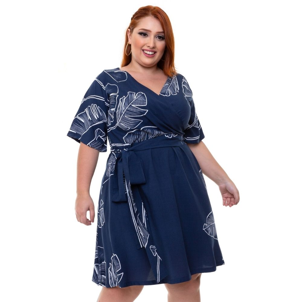 Vestido Curto Com Mangas Plus Size Estampado Azul