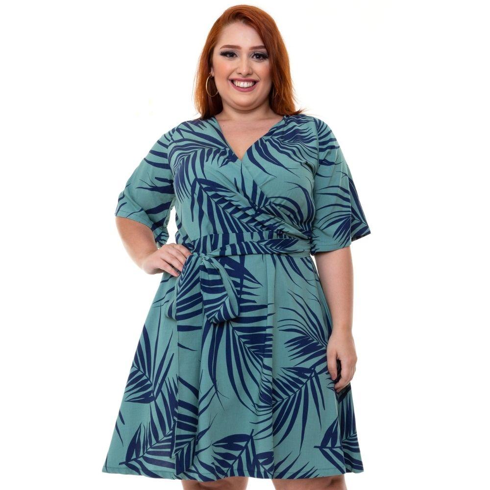 Vestido Curto Com Mangas Plus Size Estampado Verde