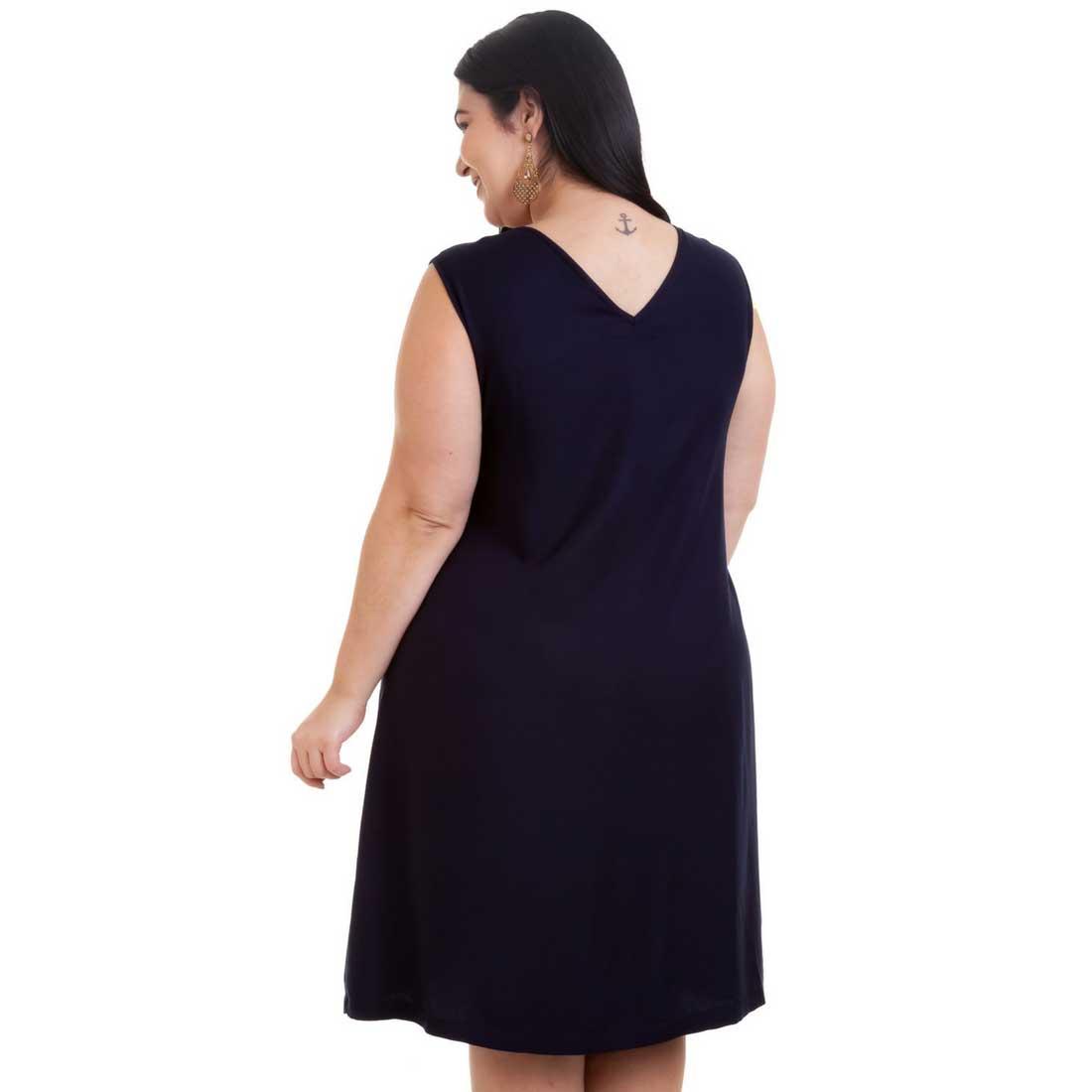Vestido Curto Plus Size Azul Alena Sem Mangas