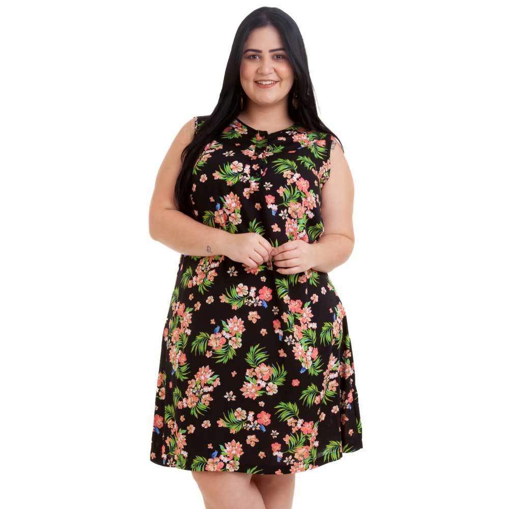 Vestido Curto Plus Size Floral Malia  Sem Mangas