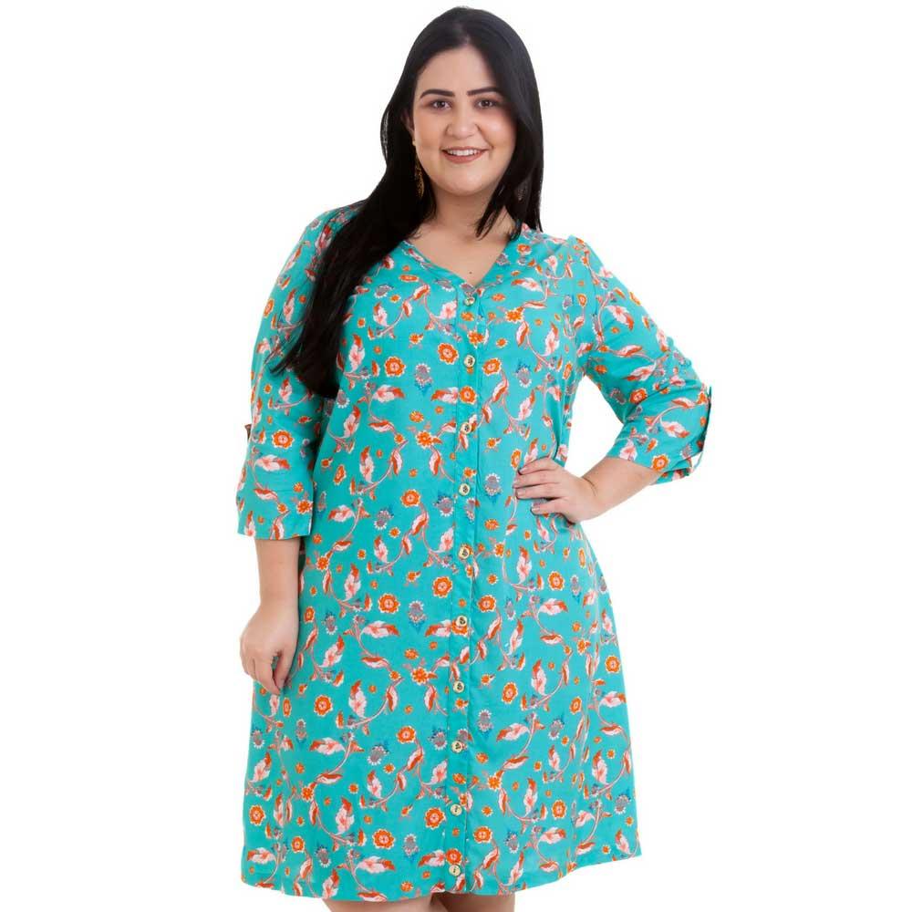 148ba2262f0 Vestido Curto Plus Size Verde Moana - Moda Plus Size Feminina - UNIVERSO  PLUS ...