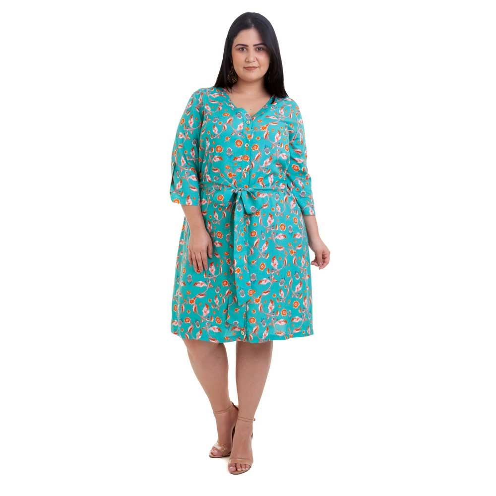 Vestido Curto Plus Size Verde Moana