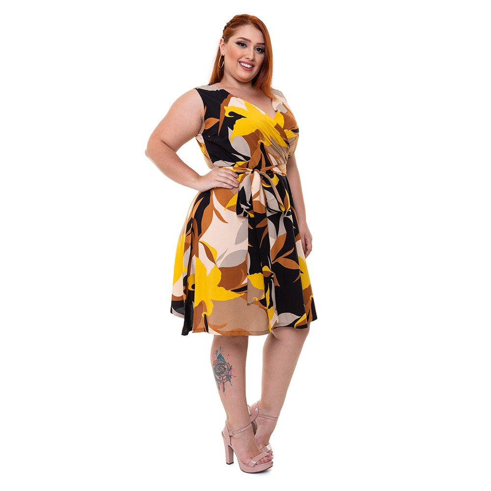 Vestido Curto Sem Mangas Plus Size Verão Floral